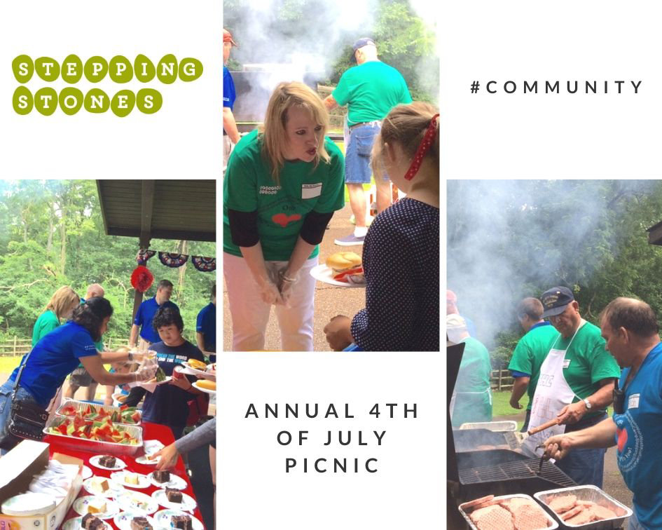 Stepping Stones annual 4th of July picnic volunteer picture collage