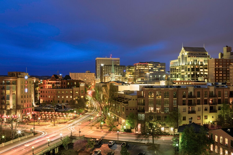 Greenville, SC illuminated at night in the blue hour